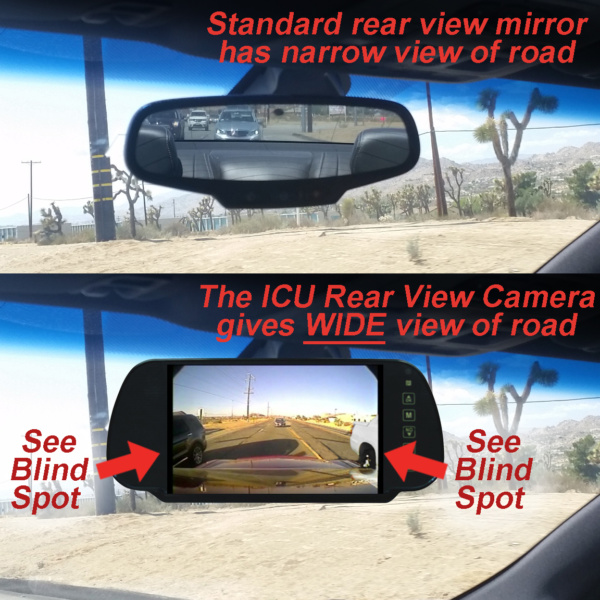 ICU Car Camera-rear view comparison shows how the ICU Car Cam System shows your blind spots when driving. The ICU improves visibility to help reduce the dangers of driving on roads today.