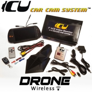 "The Drone ICU Car Camera Wireless System - Completely Wireless and portable Rear View Car Camera. Includes the ICU 7"" Rear View Video Monitor Kit with wire harness, remote control, and a 2M camera extension cable"