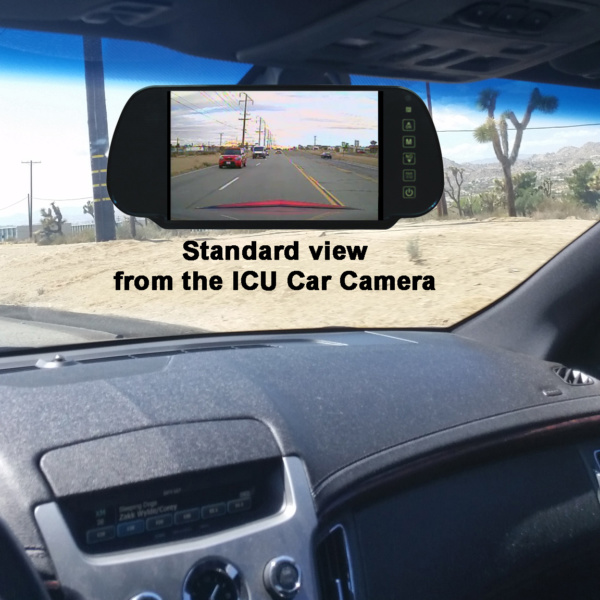 """ICU Car Camera """"standard angle"""" shows your blind spots and improves visibility to help reduce the dangers of driving on roads today."""