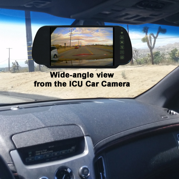 """ICU Car Camera """"wide angle cam"""" shows your blind spots and improves visibility to help reduce the dangers of driving on roads today."""