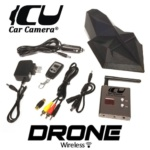 Package Contents: ICU Drone Car Camera, 5.8 GHz Wireless Video Receiver, Receiver Power Cable, Receiver Video Cable, RCA Video Adapter (female/female), Camera Power Remote Control Keychain, 12V AC Power Adapter, 12V Cigarette Lighter Power Adapter