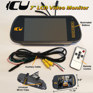 "ICU 7"" Rear View Video Monitor includes: LCD Touch Screen, 2 channel selection, format and adjustment menu, camera input connector, DC power/auxiliary cable connector, and secondary DC power connector, and auxiliary cable with DC power wire, Video IN RCA connector(for Backup camera/DVD player/game console), Video OUT(to DVR), Illuminated Buttons"
