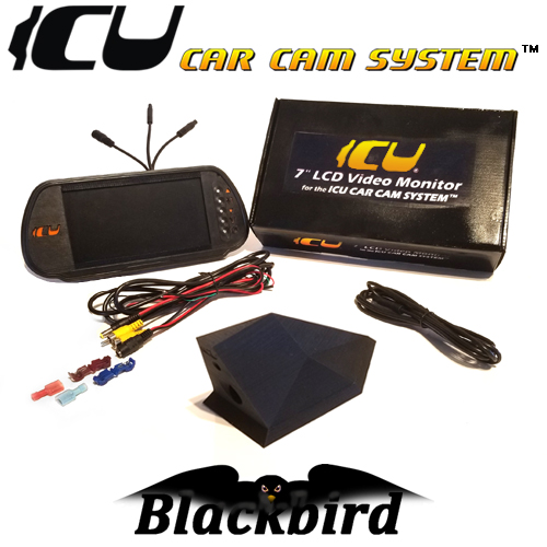 "The Blackbird Car ICU Cam System includes the Blackbird ICU Car Camera DualCam to see behind you and your blind spots when driving. This is not a backup camera. Includes the ICU 7"" Rear View Video Monitor Kit with wire harness, remote control, and a 2M camera extension cable"