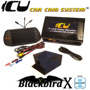 "The Blackbird-X ICU Car Cam System includes the Blackbird-X ICU Car Camera DualCam with Sirius/XM antenna to see behind you and your blind spots when driving. This is not a backup camera. Includes the ICU 7"" Rear View Video Monitor Kit with wire harness, remote control, and a 2M camera extension cable"