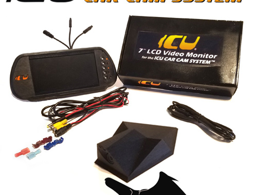 """The Vulture ICU Car Camera is a Full-time REAR VIEW Driving Camera to see behind you and your blind spots when driving. This is not a backup camera. Includes the ICU 7"""" Rear View Video Monitor Kit with wire harness, remote control, and a 2M camera extension cable"""