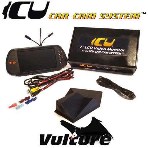 "The Vulture ICU Car Camera is a Full-time REAR VIEW Driving Camera to see behind you and your blind spots when driving. This is not a backup camera. Includes the ICU 7"" Rear View Video Monitor Kit with wire harness, remote control, and a 2M camera extension cable"