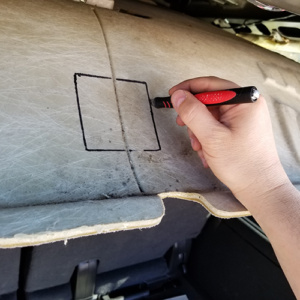 ICU Trap Door Installation cutting a hole for the door frame with a cutting tool