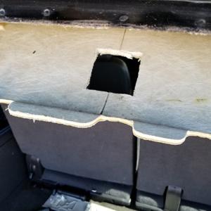 ICU Trap Door Installation view of the roof liner top after the door hole has been cut