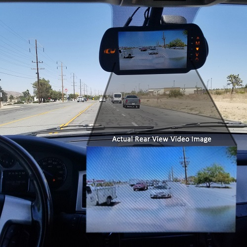 ICU Video Monitor shows the camera rear view to see your blind spots