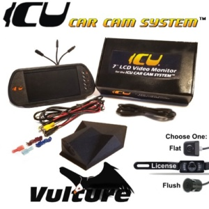 The Deluxe ICU Car Cam System includes a Vulture ICU Car Camera, your choice of backup camera, and the ICU Video Monitor