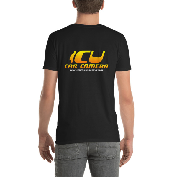 "The Official ICU Car Camera Tee Shirt with the ICU Car Camera ""SUNSET"" logo (rear view)"