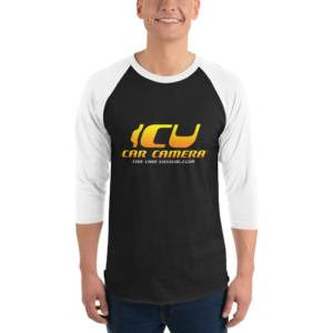 "The Official ICU Car Camera Raglan Shirt with the ICU Car Camera ""SUNSET"" logo"