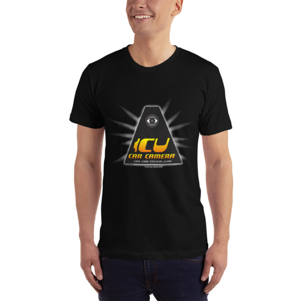 """The Official ICU Car Camera Tee Shirt with the ICU Car Camera """"ICON"""" logo (front view)"""