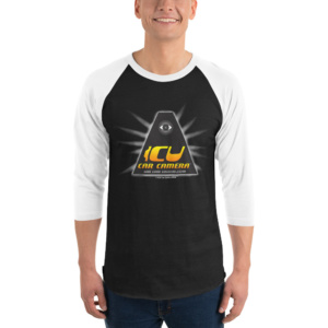 "The Official ICU Car Camera Raglan Shirt with the ICU Car Camera ""ICON"" logo"
