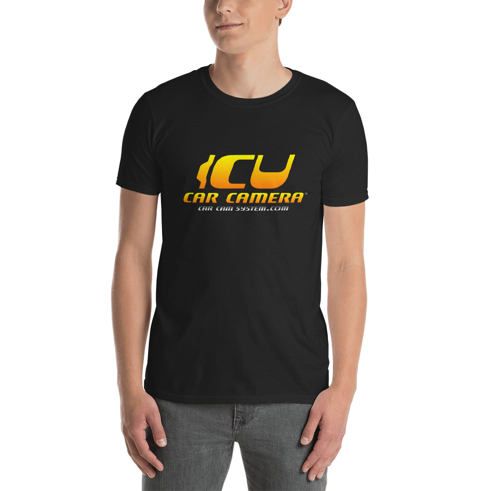 "The Official ICU Car Camera Tee Shirt with the ICU Car Camera ""SUNSET"" logo (front view)"