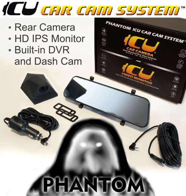 "The Phantom ICU Car Camera is a Full-time REAR VIEW Driving Camera and Video monitor, this is not a backup camera! Now you can see behind you and your blind spots when driving. Includes a Phantom ICU Car Camera, the ICU 9.66"" Rear View HD Touchscreen Video Monitor with built-in dashcam/dvr. cigarette lighter power adapter (3.5m), and silicone monitor mounting straps, and camera cable (6m)."