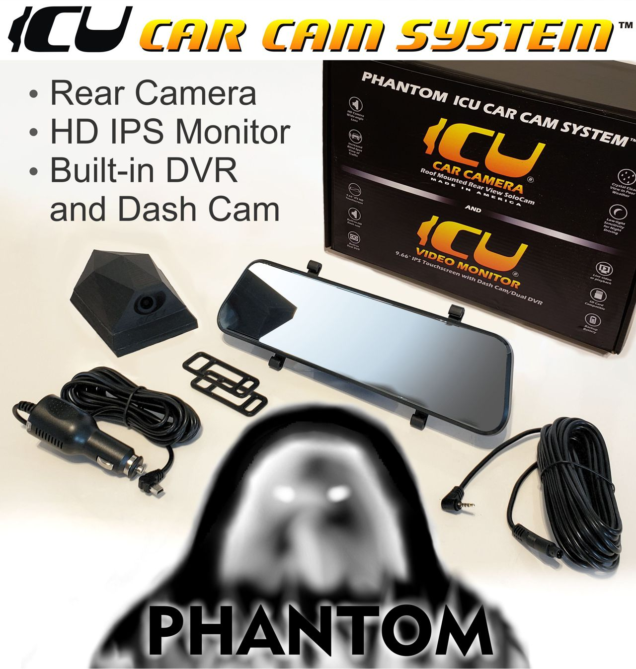 """The Phantom ICU Car Camera is a Full-time REAR VIEW Driving Camera and Video monitor, this is not a backup camera! Now you can see behind you and your blind spots when driving. Includes a Phantom ICU Car Camera, the ICU 9.66"""" Rear View HD Touchscreen Video Monitor with built-in dashcam/dvr. cigarette lighter power adapter (3.5m), and silicone monitor mounting straps, and camera cable (6m)."""