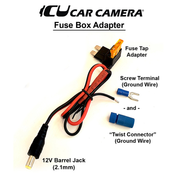 Easy installation DC Power adapter to vehicle fuse box and a ground screw or wire that can be used to power the ICU Car Cam System™ Video Monitors or other components that connect to 12V DC Power. Choose between 4 types.