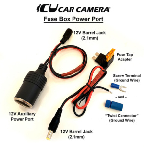 Easy installation DC Power adapter and 12V Auxiliary Power Port to vehicle fuse box and a ground screw or wire that can be used to power the ICU Car Cam System™ Video Monitors or other components that connect to 12V DC Power. Choose between 4 types.
