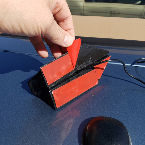 Sticky Mount easily installs on a trunk or roof, NO DRILLING and NO HOLES!
