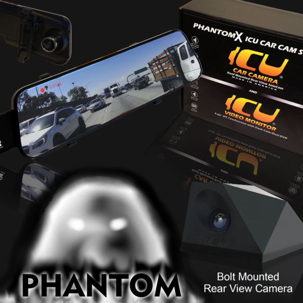 The Phantom ICU Car Camera is a Full-time REAR VIEW Driving Camera with wide-angle lens for the best view of traffic behind you and in your blind spots. This Bolt Mount rear view camera mounts to your roof or trunk for an optimal angle of traffic, far superior to a rear view mirror.