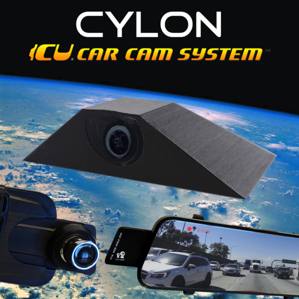 The Cylon ICU Car Cam System is a Full-time REAR VIEW & Blind Spot Camera with wide-angle lens. Camera mounts to your roof or trunk for the best view or the road. Video Mirror Monitor attaches to your rear view mirror.