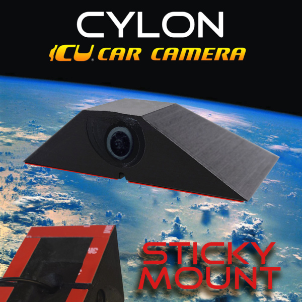 ICU Car Camera Cylon Sticky Mount is a Full-time REAR VIEW & Blind Spot Camera with wide-angle lens. Camera mounts to your roof or trunk for the best view or the road. Connect to our ICU Video Mirror Monitor attaches to your rear view mirror that includes a built-in dash cam and DVR to record both rear and front cameras, OR, connect it to your own Mirror Monitor.