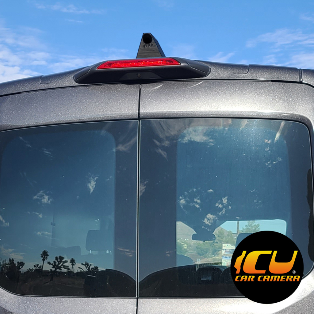 PhantomX installed on a Ford Transit. The PhantomX is our tallest Rear View Camera specially designed to see behind your big truck or van. Incredible view of your blind spots especially if you have no rear windows or rear view mirror.