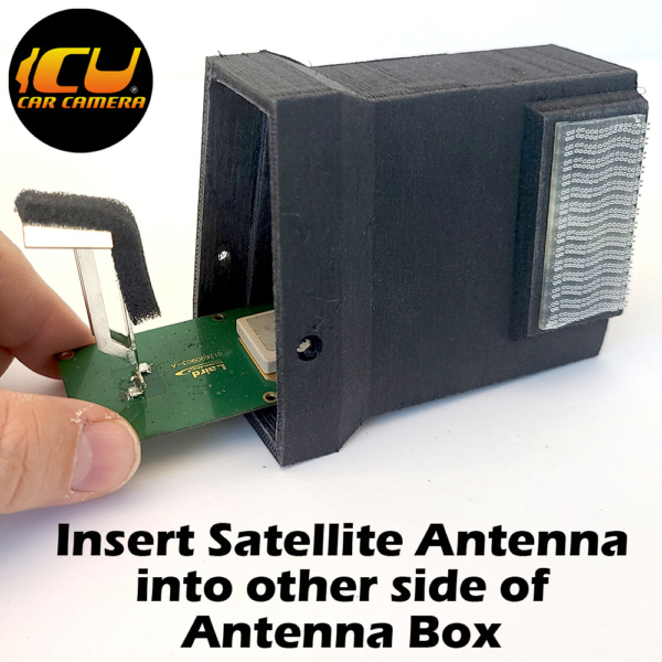 ICU Antenna Box allows ICU Car Camera customers to replace their factory Shark Fin Satellite/Radio antennas with the ICU Car Camera, and move the antenna to a new location inside the vehicle mounted to the rear window