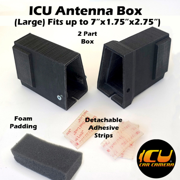 """The Large ICU Antenna Box allows ICU Car Camera customers to replace their factory Shark Fin Satellite/Radio antennas with the ICU Car Camera, and move the antenna to a new location inside the vehicle mounted to the rear window. Fits 7""""x1.75""""x2.75"""" inside"""