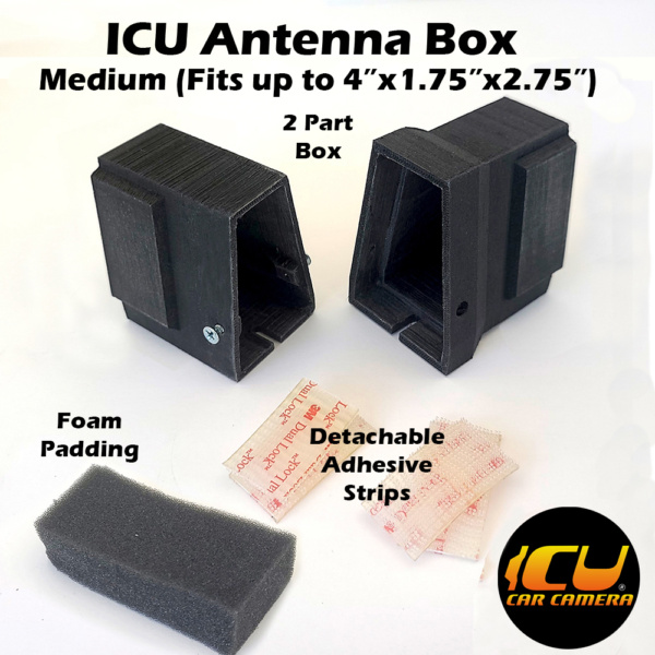 """The Medium ICU Antenna Box allows ICU Car Camera customers to replace their factory Shark Fin Satellite/Radio antennas with the ICU Car Camera, and move the antenna to a new location inside the vehicle mounted to the rear window. Fits 4""""x1.75""""x2.75"""" inside"""