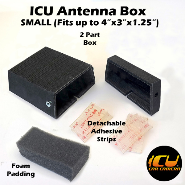 """The Small ICU Antenna Box allows ICU Car Camera customers to replace their factory Shark Fin Satellite/Radio antennas with the ICU Car Camera, and move the antenna to a new location inside the vehicle mounted to the rear window. Fits 3""""x1.75""""x1.5"""" inside"""